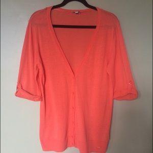 Coral Linen Knit Lightweight Cardigan